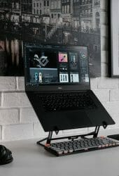 Desk set up for a remote worker