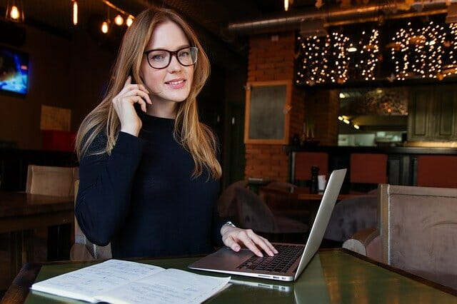 A remote worker on the phone